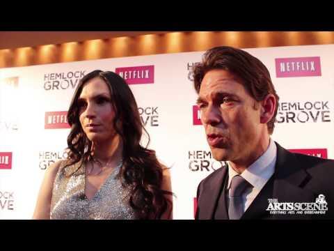 Famke Janssen and Dougray Scott have fun at the Hemlock Grove Red Carpet Premiere