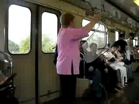 "moscow subway - a woman selling ""something"""