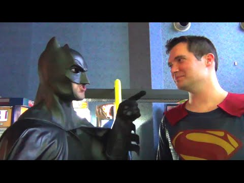 BATMAN v SUPERMAN Air Hockey Fail Dawn of Justice Spoof/Real Life Superhero Parody