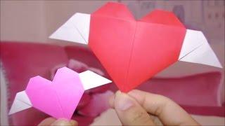 ★Origami instructions「Valentine wing heart」★バレンタイン折り紙「羽付きハート」の折り方★