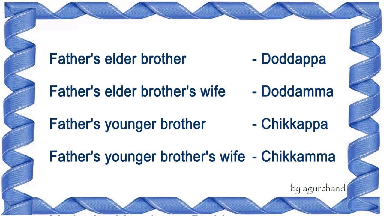 Family Relationship Names In Kannada Youtube