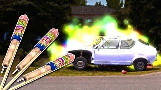 FIREWORKS DESTROY CARS! - My Summer Car Gameplay - My Summer Car Fireworks Rocket