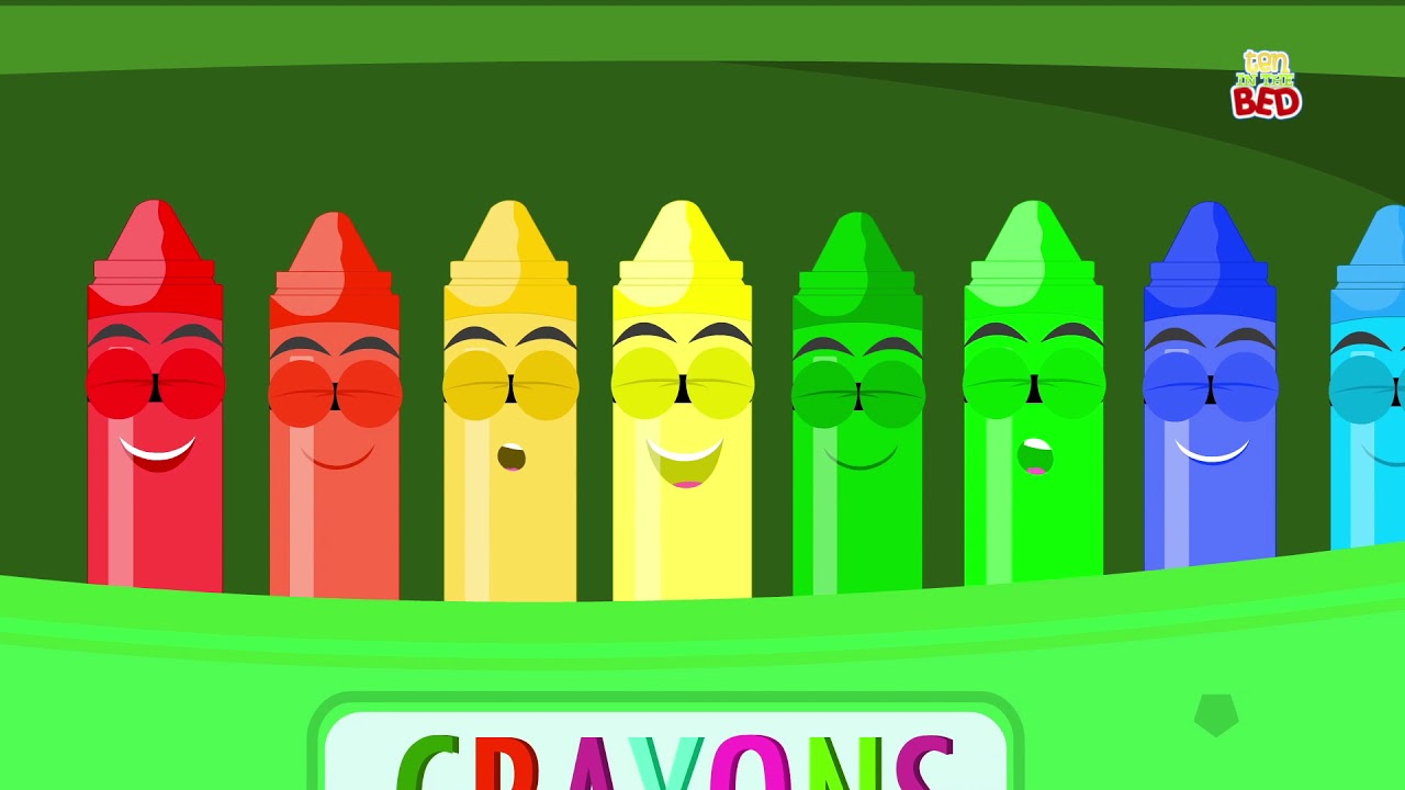 Crayons Ten In The Bed   Crayons Color Song   Learn Colors   Nursery ...