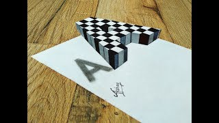 Floating Chess Letter A - Drawing 3D Letter A - Art Maker Akshay