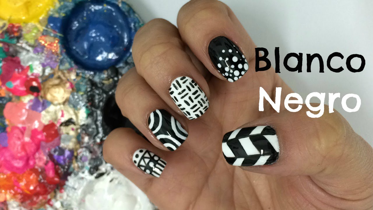 Decoracion de u as blanco y negro black and white nail - Decoracion en blanco y negro ...