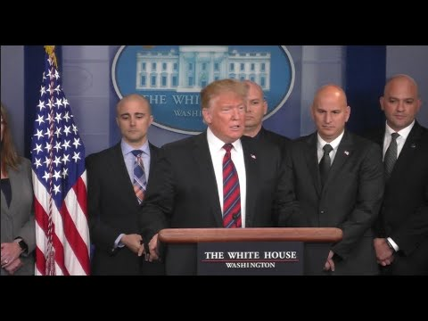 Trump makes surprise appearance at White House press briefing