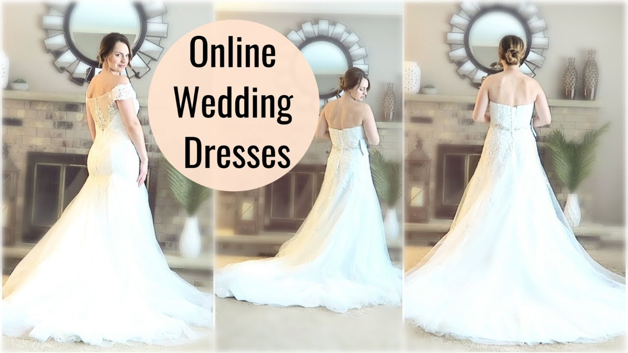 Trying On Affordable Online Wedding Dresses Azazie Com Youtube