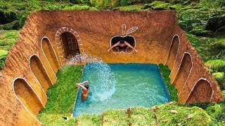 Build Swimming Pool Water Slide Around Secret Underground House With Ancient Skills