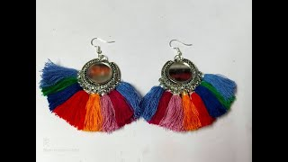 //EASY DIY//RAINBOW MIRROR TASSEL EARRINGS TUTORIALS//HANDMADE//OLD EARRINGS TUNRNS NEW //
