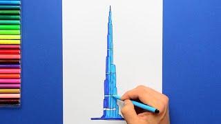How to draw and color the Burj Khalifa, Dubai