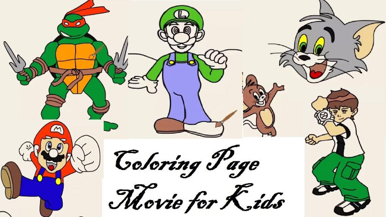 online coloring page tom and jerry super mario ben 10 ninja youtube