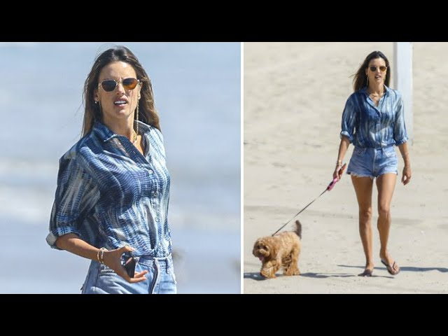 Alessandra Ambrosio Spends Labor Day Weekend On The Beach With Her Dog