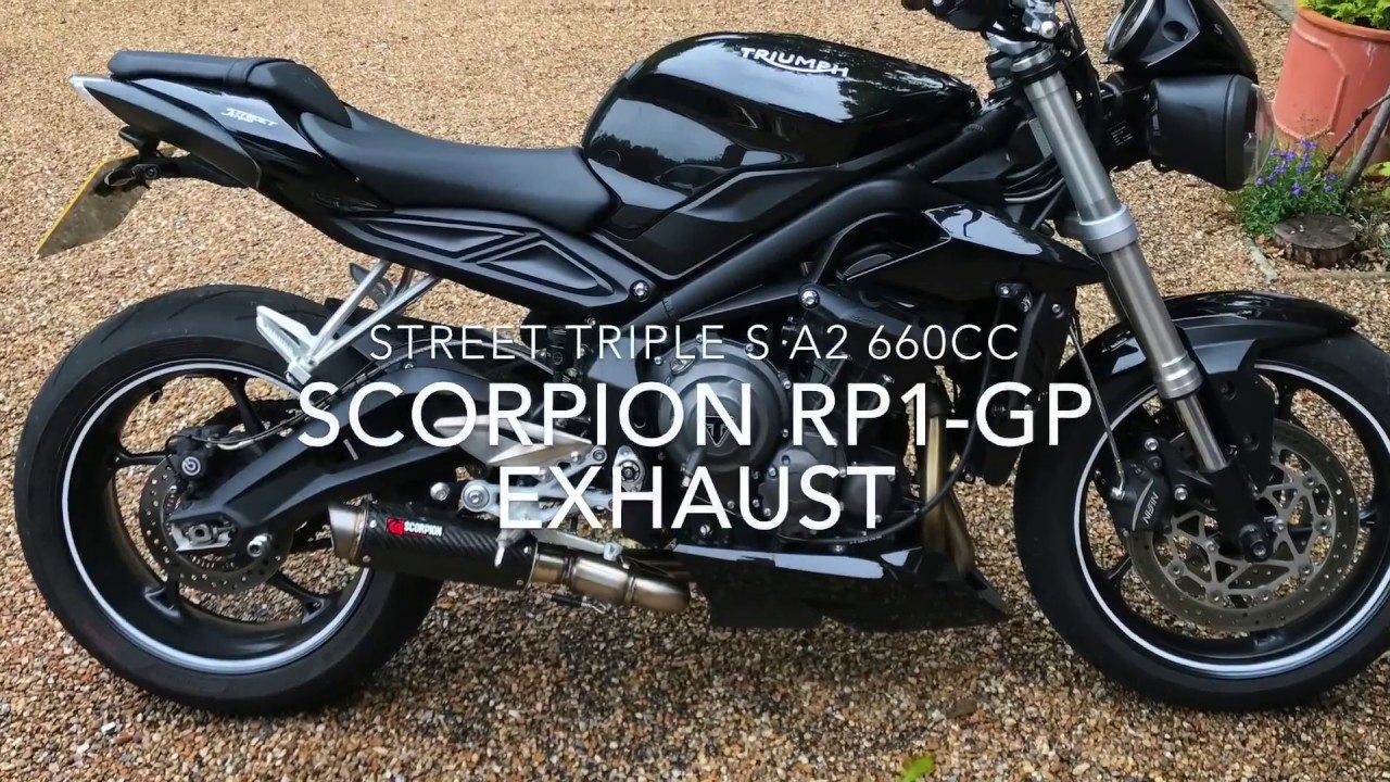 scorpion rp1 gp exhaust 2017 triumph street triple s a2 660cc quickshifter youtube. Black Bedroom Furniture Sets. Home Design Ideas