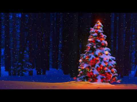 Christmas Background Video With Snowfall, Festive Music and Log Fire