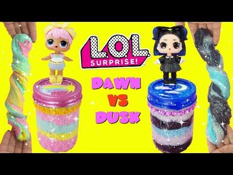 D.I.Y. LOL Surprise Dawn VS Dusk Slime Challenge LOL Confetti Pop Slime