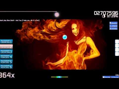 Osu! Blue Stahli  Anti You I hate you, die in a fire!