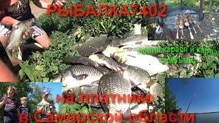 Ловля карася, карпа на платнике в Самарской области. Дети на рыбалке!