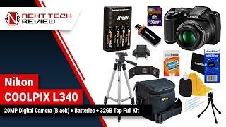 Nikon COOLPIX L340 20MP Digital Camera Black + Batteries + 32GB Top Full Kit Product Review  – NTR