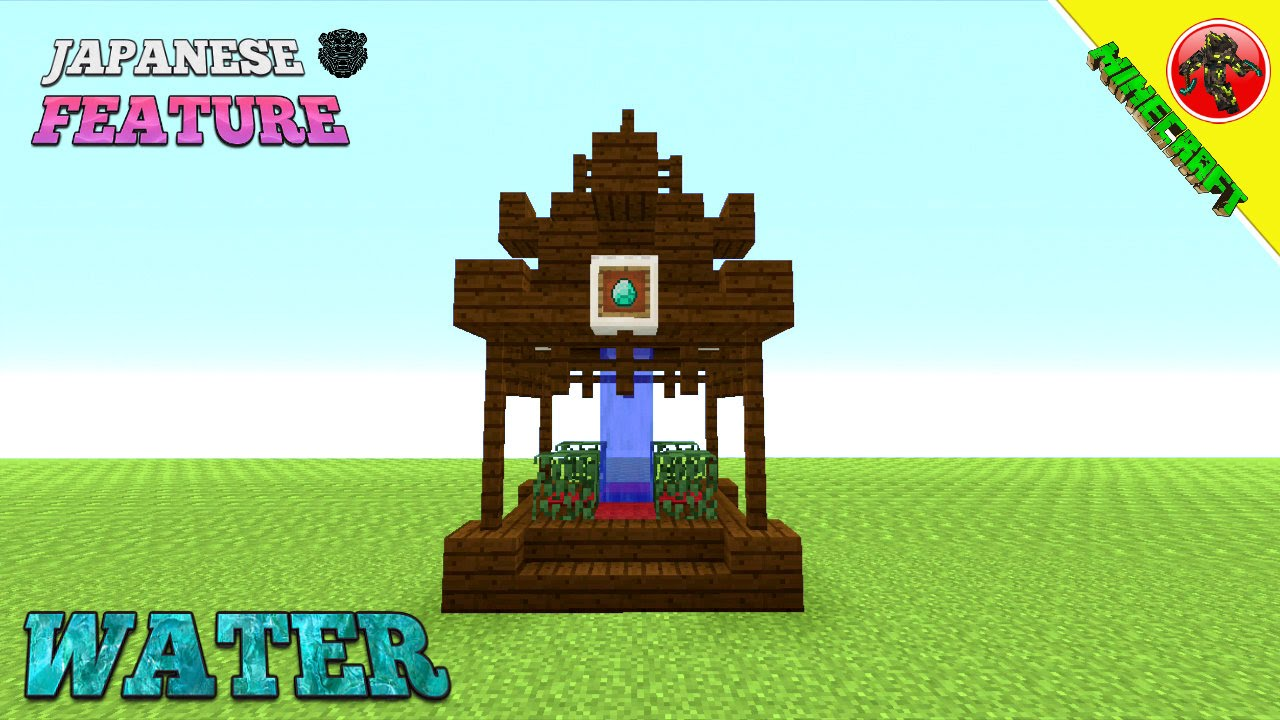 minecraft tutorial how to build a japanese water feature youtube