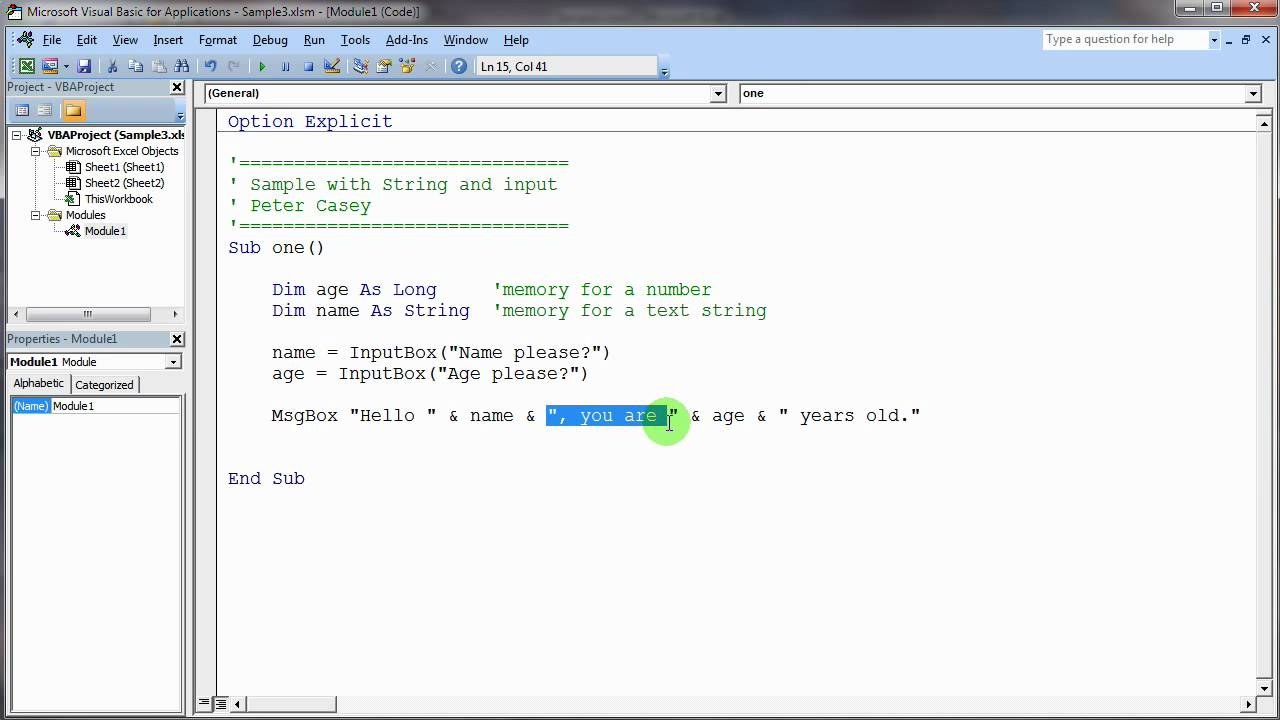 Sample with String. InputBox. and String Concatenation - YouTube