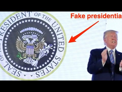 Trump appears in front of altered presidential seal saying '45 is a puppet'