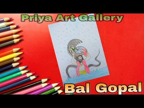 How to Draw Lord Little krishna Color Drawing for Kids Step-by-step