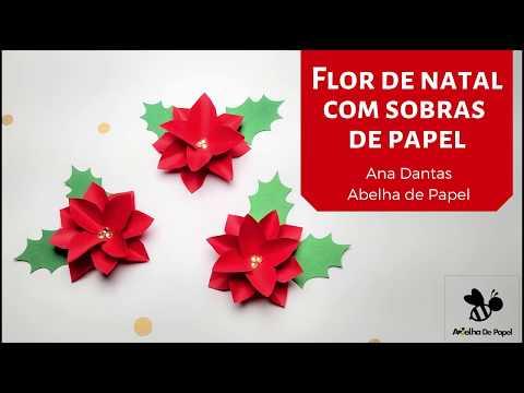 Aprenda a fazer uma flor de natalina de um jeito SUPER FÁCIL!!!  Reaproveitando sobras de papel