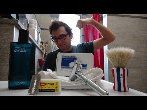 Merkur Futur - Feather - Valobra soap - Vielong Barbershop - Davidoff Cool Water AS