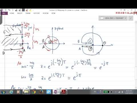 2014W ENGR487 Lecture13 Mapping from s-plane to z-plane, Part I
