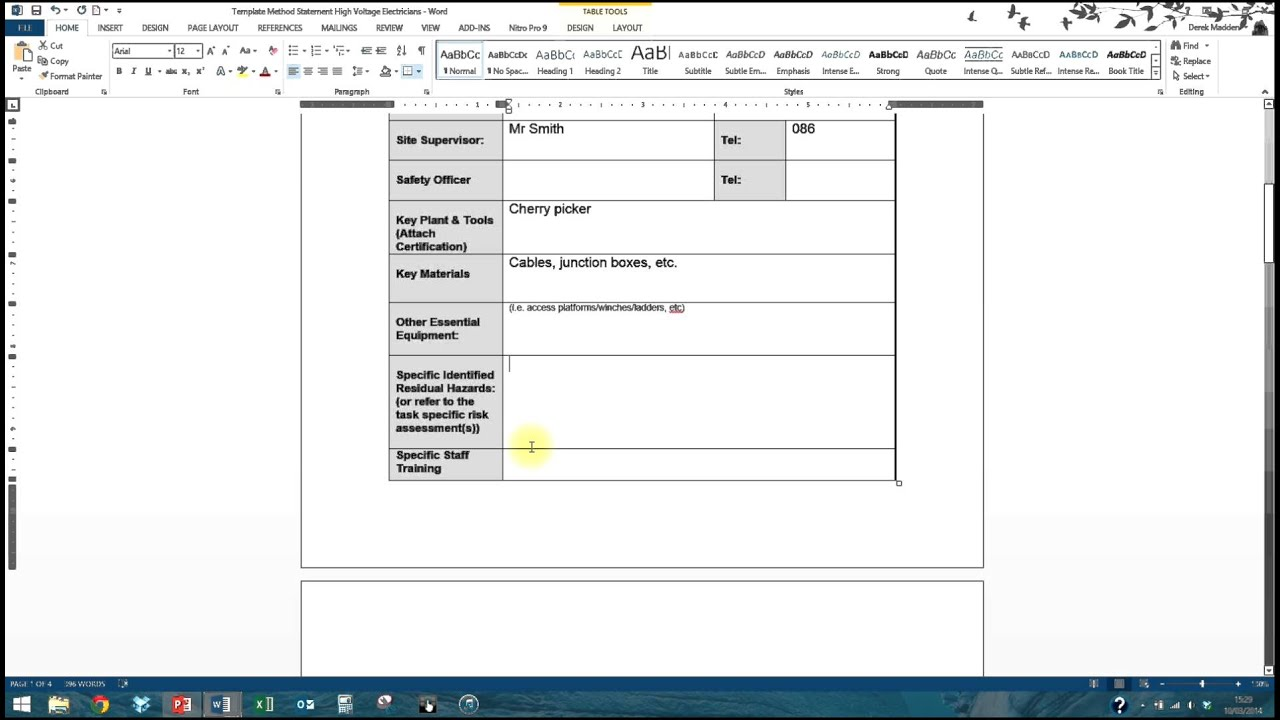 How To Complete A Method Statement  Method Statements Template