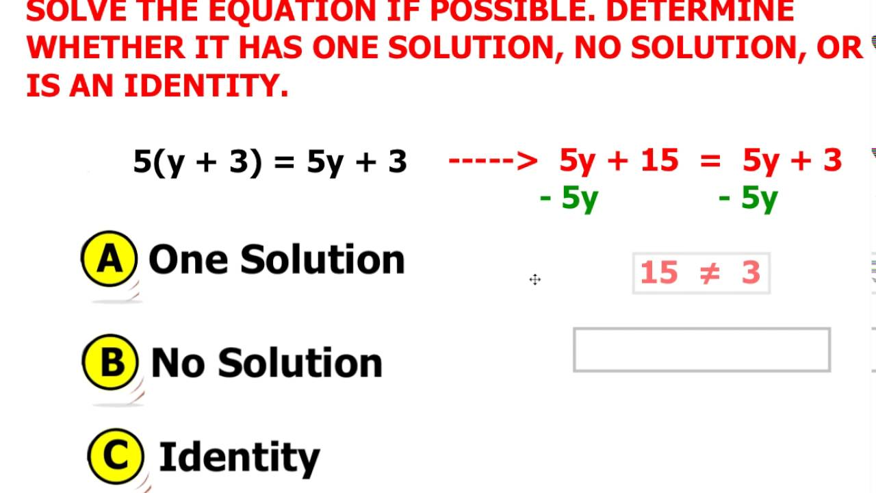 Solving Multi Step Equation No Solution Youtube