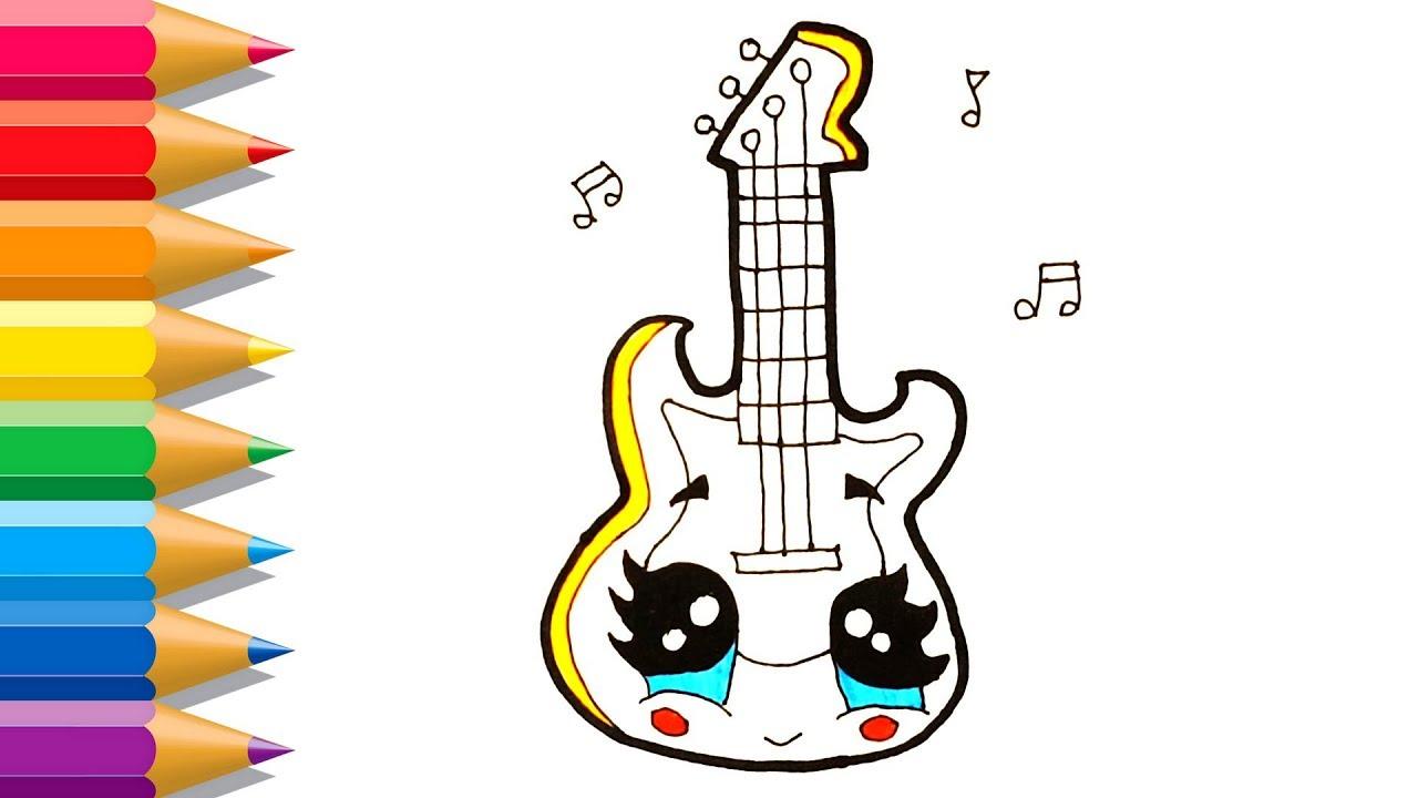 Cómo Dibujar Linda Guitarra Para Niños Dibujos Para Colorear Linda Guitarra Para Niños