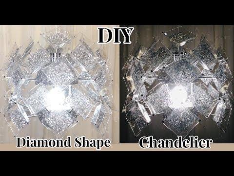 Dollar Tree DIY Diamond Shapes Glam LED lighting Hanging Chandelier 2019