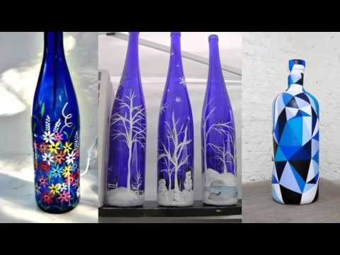 Recycled Bottle Glass Paint Art | Home Decor Ideas | Painted Blue Bottle Diy  Art Pic Collection   YouTube