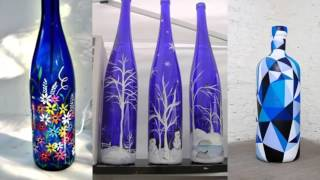 Recycled Bottle Glass Art| Home Decor Ideas |Painted Blue Bottle Collection