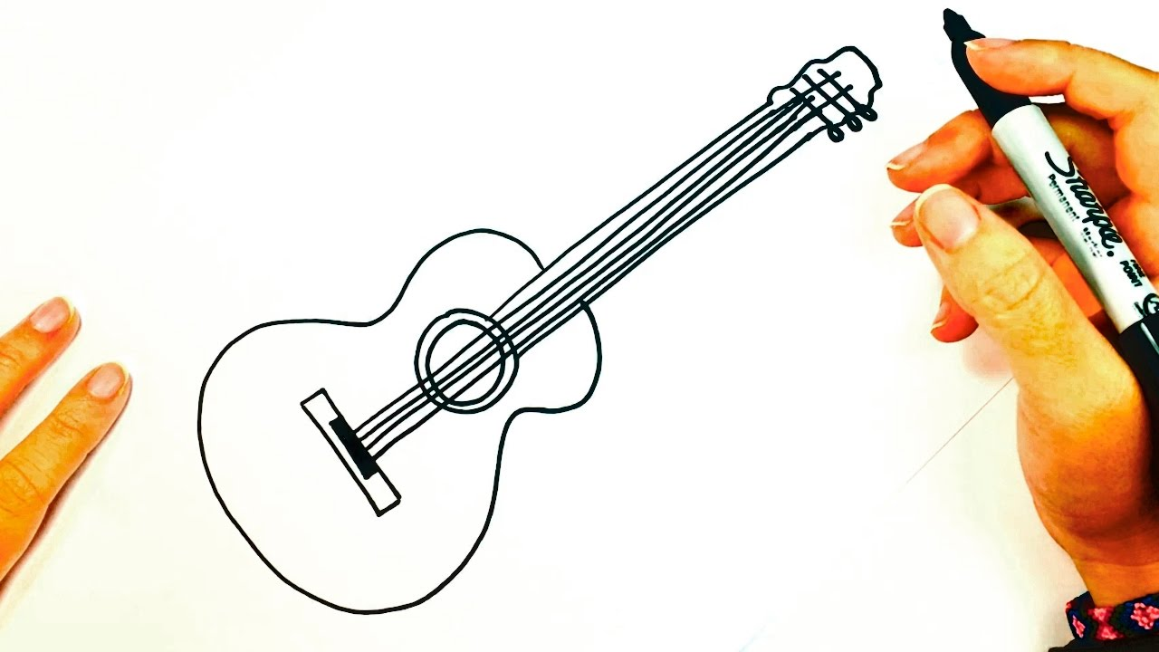 How To Draw A Acoustic Guitar Acoustic Guitar Easy Draw Tutorial
