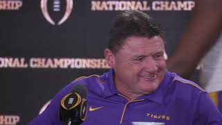 Joe Burrow, Ed Orgeron, Patrick Queen postgame press conference after winning national championship