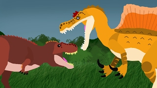 Dinosaurs Cartoons Battles: Tyrannosaurus Rex vs Spinosaurus. Динозавры Мультфильм DinoMania