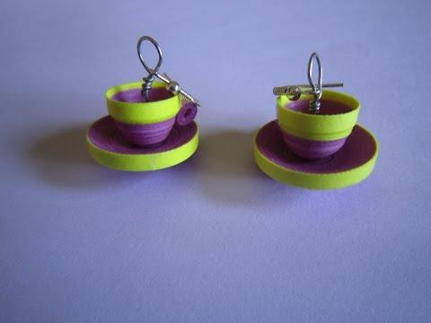 quilling paper earrings  jhumkas design  cup saucer model handmade jewelry earrings
