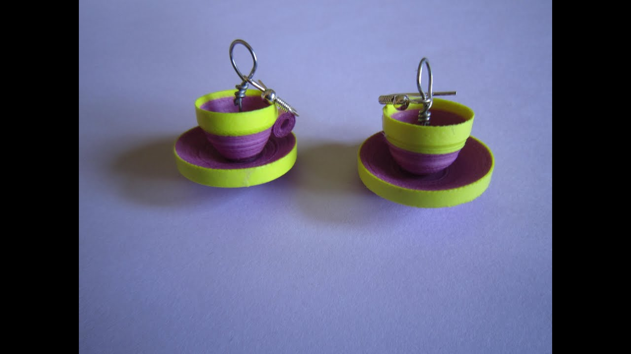 Papercraft quilling paper earrings  jhumkas design  cup saucer model handmade jewelry earrings