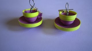 quilling paper earrings  jhumkas design  cup saucer model handmade jewelry earrings