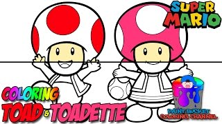 How to Color Toad and Toadette - Super Mario Nintendo Coloring Page