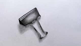 How to Sketch a Metal Binder Clip