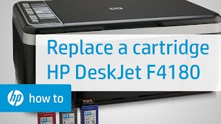 Replacing a Cartridge - HP Deskjet F4180 All-in-One Printer(Learn how to replace a cartridge in the HP Deskjet F4135, F4140, F4172, F4180, F4185, or F4190 All-in-One printer. The model shown is the HP Deskjet F4180 ..., 2011-01-12T01:15:40.000Z)