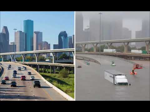 Houston before and after the flood , then and now, picture comparison of the 2017 floodings