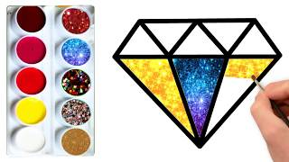 How To  Draw Rainbow Diamonds step by step For Kids Coloring pages |