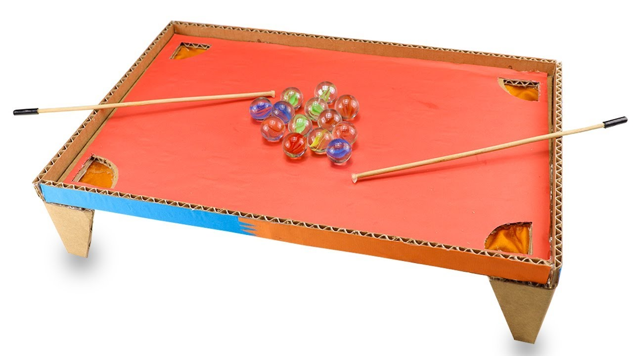 How To Make Pool Game From Cardboard   DIY Pool Table Games At Home   Pool  Table Games With 2 Player