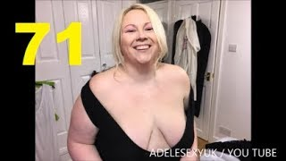 ADELESEXYUK TRYING ON A V NECK SLEEVELESS BODYSUIT