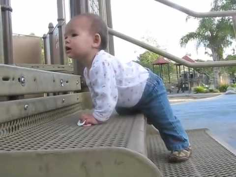 8-month-old baby Melody climbs play structure, first time
