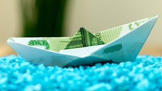 How to fold a money origami ship, easy DIY tutorial